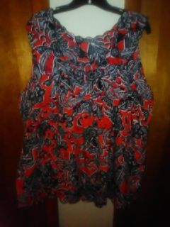 Woman's Summer Red Black & White Shirt Size 3x