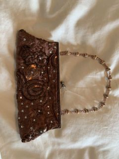 Clutch Purse Embroidered Beaded Strap Sequins Evening Bag Wedding Prom Brown.