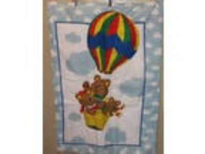 "Handmade Infant Quilt 42"" x 32"" Hot Air Balloon and Sleeping"