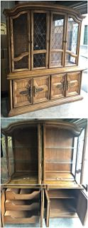 Vintage Lighted Two Piece China Cabinet