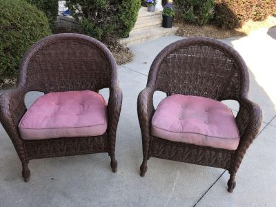 2 All weather wicker oversized chairs