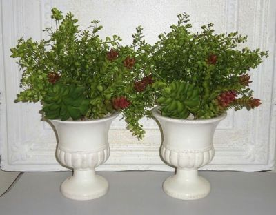 NEW Pair of Faux Greenery & Succulent Shabby Farmhouse Urn Arrangements