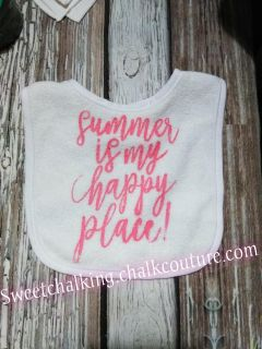 Summer is my happy place coral bib