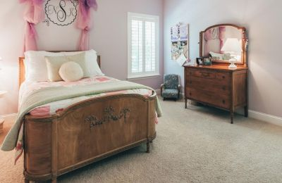Antique Full Bed with matching dresser, mirror, and rocking chair