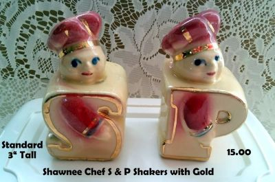 Shawnee CHEF Salt & Pepper Shakers with Gold