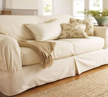 pottery barn separate seat tailored loose-fit slipcover, euc