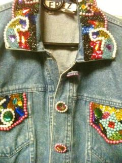 JACKET- BEAUTIFUL BEADED BLUE JEAN JACKET