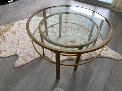Glass gold table
