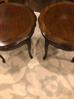 French Provincial Mahogany Side Tables