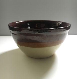Dark Cocoa & Coffee Stripe Glazed Mixing Bowl