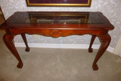 "Stunning Sofa or Hall Beveled Glass Top ""Claw Foot"" Table, EXC Gorgeous"