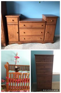 Crib, Changing Table and Tall Dresser