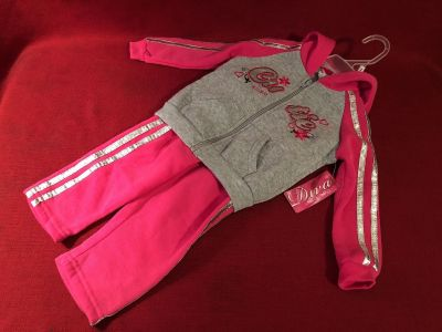 Diva Cutie Hooded Sweat Suit. Size 18 Months. 100% Polyester. New