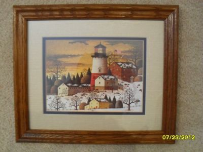 Small Lighthouse Picture Wood Frame Winter Scene