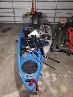 Two kayaks (no titles) open to barter