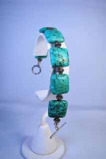 Sterling Silver Cushion Cut Turquoise Bracelet