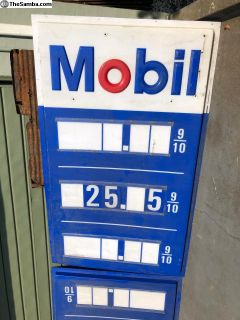 Mobil Gas Sign Halves TALL No Idea of Age ?