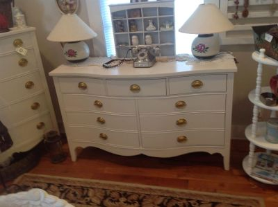 Vintage Bowfront Dresser and Chest of Drawers