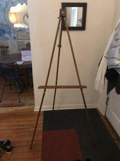 Antique wooden floor easel