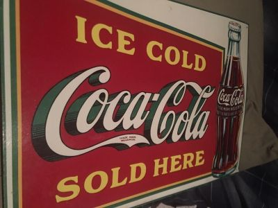 Old Coca sign 17 1/2 by 12 1/2 . (1989) Poms
