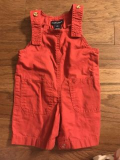 Red overalls, 3-6 months
