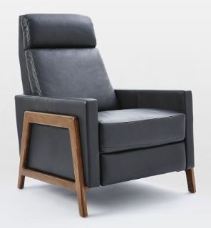 West Elm Recliner Leather Black Mid Century Chair