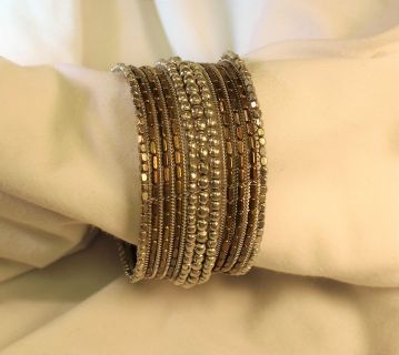 Silver Gold Bronze Brass Tone Wide Bracelet Bangle Cuff Chain Clasp Bead Link