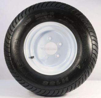 "Find TWO TRAILER TIRES & RIMS 20.5 8 10 205/65-10 20.5/8-10 10"" 5 BOLT E WHEEL WHITE motorcycle in Naples, Florida, US, for US $150.69"