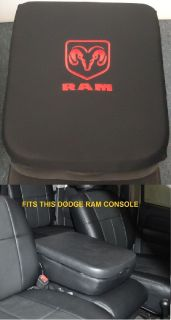 Dodge RAM 2004  2017 1500 2500 Black Fleece Center Console Lid Cover With Red Embroidered RAM Logo