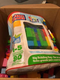 Huge box of megabloks primary and pastel
