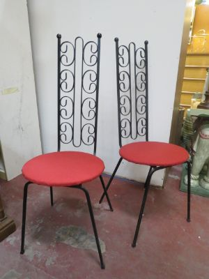 SALE!Vintage mid century pr of Wrought Iron Chairs
