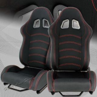 Sell Universal TYPE-1 Full Reclinable Black Cloth Red Stitching Racing Seat + Silder motorcycle in Walnut, California, United States