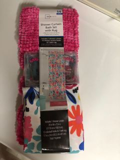 Shower curtain, hooks and rug set