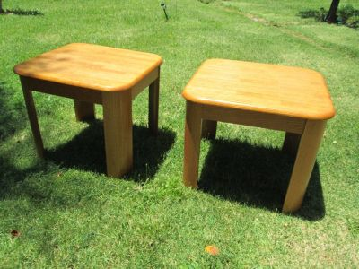 End Tables Set Real Oak Wood Great Condition