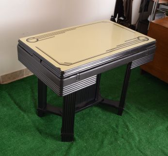 vintage Art Deco enamel top table with wood base