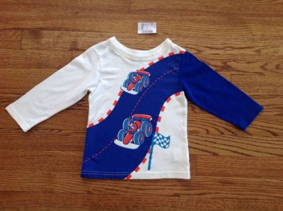 New The Children's Place Baby Toddler Boys Cotton Race Cars Graphic Tee, size 18-24 months