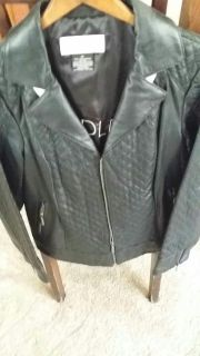 Brand New Bradley bayou black leather jacket with quilted design