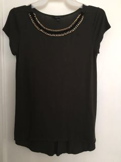 RW & Co Dark Olive Green Top Sz XS w/ Chain Embellishment( See Other Photo)