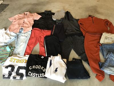 UNYforus track suite, deadstock IE track suite, study , polo jacket brand new , crooks sweatshirt , jeans ,cargos ,over a $1000 in clothing