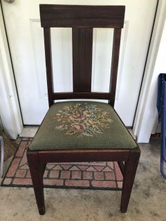 Wood chair with Needle Point cushion
