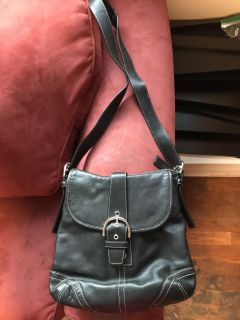 BEAUTIFUL authentic black leather Coach bag. Great length and size. Soft leather with lots of pockets. Can send more pics. EUC
