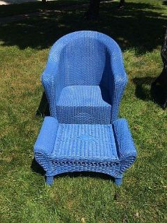 Wildberry Blue Wicker Chair and Footrest