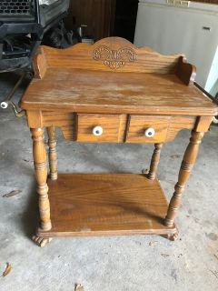 Antique solid wood table / nightstand 28.5 wide x 15 deep x 25 high