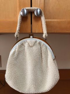 Vintage white CORDE BEAD beaded purse and coin purse