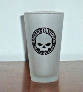 Harley Davidson Motorcycle Skeleton Frosted 16 oz Drinking Beer Pint Glass Cup