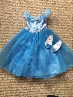 Cinderella dress and slippers for 18 doll.