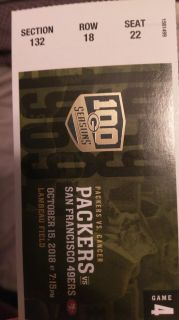 Packers ticket vs 49ers MNF Oct 15!