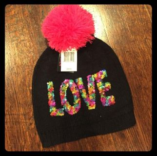 betsey Johnson trolls Love embroidered beanie