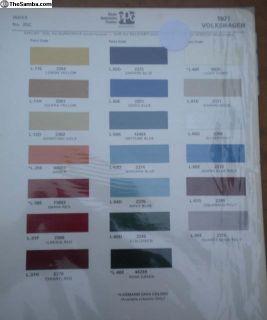 Exterior Color Paint Chips -1971 Karmann Ghia
