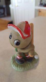 Enesco Porcelain Bisque Turtle with Baseball Hat, Ball, and Bat